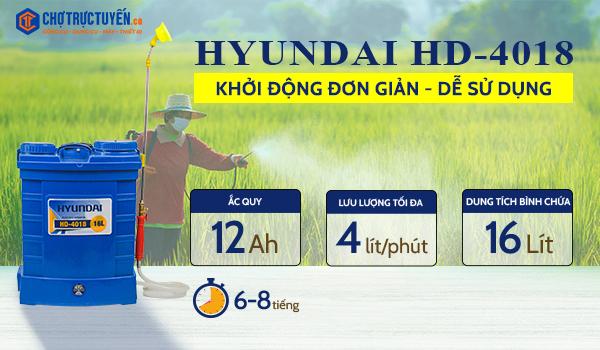 bình xịt điện, Bình xịt điện HYUNDAI HD-4018 (16L)  ắcquy Hyundai 12v/12Ah giá tốt - chotructuyen.co