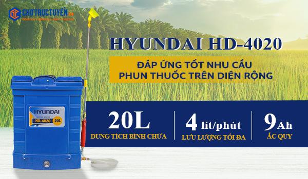 Bình xịt điện , Bình xịt điện HYUNDAI HD-4020 (20L) máy phun thuốc trừ sâu bằng điện ắc quy -chotructuyen.co