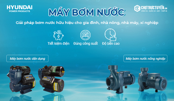 máy bơm dân dụng đến từ nhiều thương hiệu khác nhau như: Hitachi, Shining, Panasonic, HYUNDAI