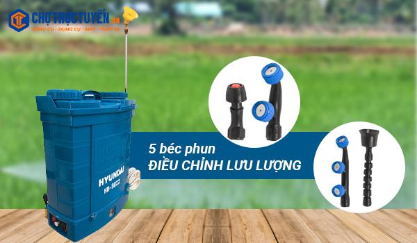 Điều chỉnh lưu lượng phun linh hoạt qua béc phun Hyundai HD-8022