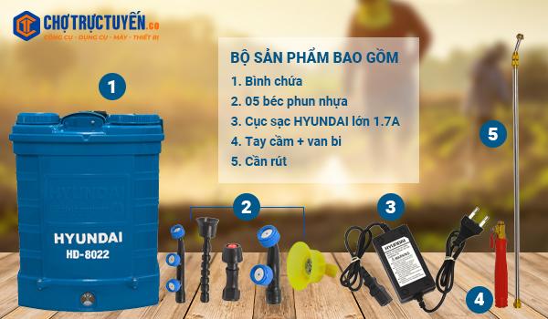 Phụ kiện đầy đủ, sử dụng ngay khi mua Bình xịt thuốc 20 lít HD-8022