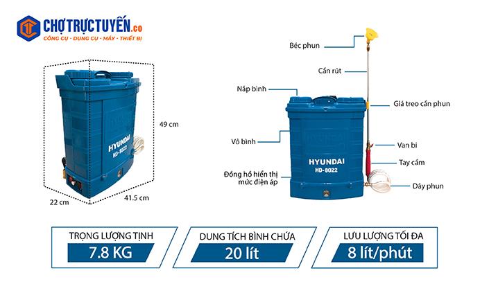 Thông số kỹ thuật bình xịt điện Hyundai HD-8022